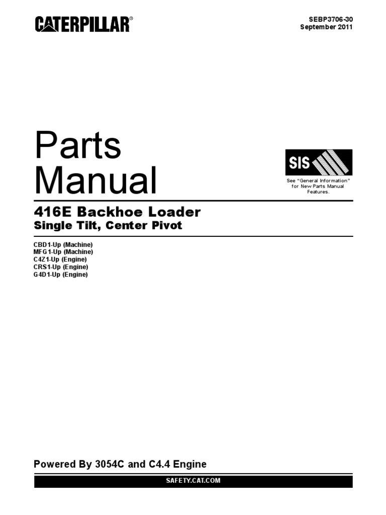Caterpillar 416E Parts Manual 416E Backhoe Loader