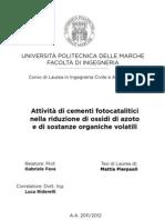 Attività di cementi fotocatalitici nella riduzione di ossidi di azoto e di sostanze organiche volatili