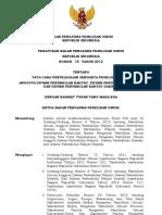Perbawaslu Nomor 15 Tahun 2012 ttg Tata Cara Penyelesaian Sengketa Pileg