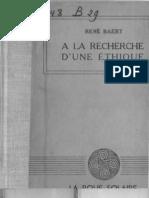 René Baert, A la recherche d'une ethique