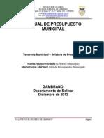 MANUAL DE PROGRAMACIÓN, EJECUCIÓN Y CIERRE PRESUPUESTAL DEL MUNICIPIO DE ZAMBRANO BOLÍVAR
