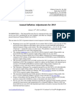 Annual Inflation Adjustments for 2013