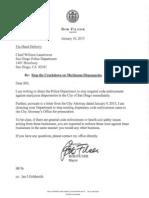 Filner's letter on marijuana dispensaries.