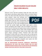 ISU PENGGUNAAN KALIMAH ALLAH DALAM BIBLE VERSI MELAYU