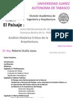 El Paisaje como Reinterpretación de la Intervención Humana dentro de la Hidrografía Local.