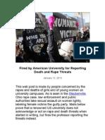 American University Professor Fired for Reporting Rape & Death Threats