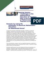 Arithmetic in American Mathematics Education