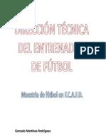 Direccion Tecnica del  Entrenador de Futbol