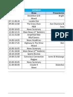 UNZA Radio Programe Schedule
