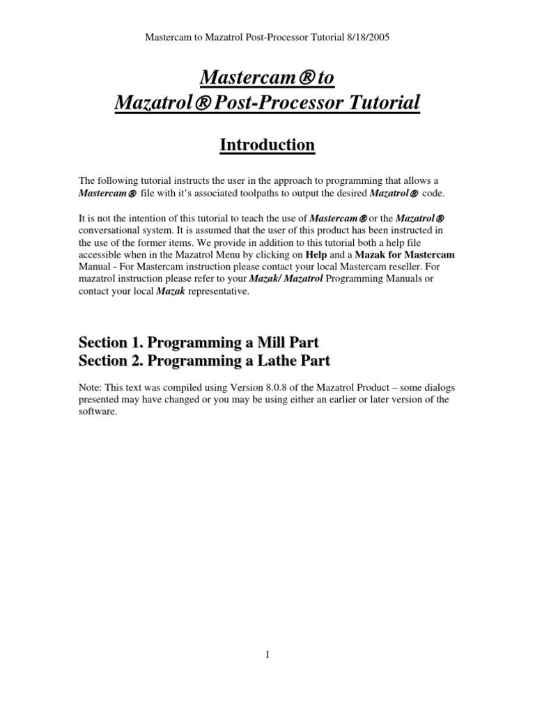 mastercam post processor tutorial 1 rh scribd com Mastercam 9 En Mastercam X10
