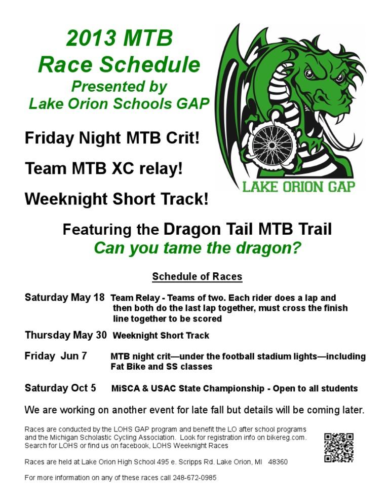 LOHS 2013 Race Schedule