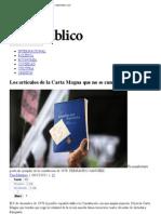 España. Artículos de la Constitución que no se cumplen