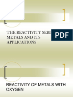 The Reactivity Series of Metals and Its Applications