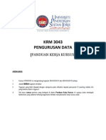Krm3043 Pengurusan Data Panduan Kursus