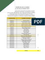 Relación provisional de inscritos.Campeonato de España de banda 2013. Sueca (Valencia)