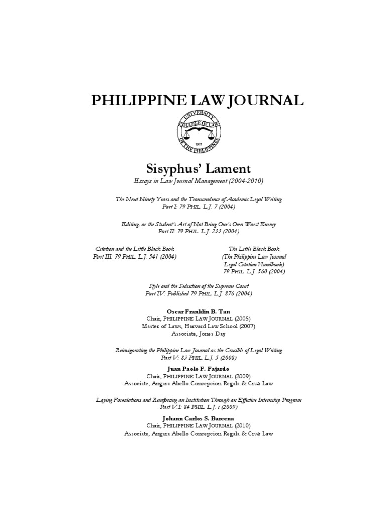 sisyphus lament philippine law journal chair essays on journal sisyphus lament philippine law journal chair essays on journal management law review
