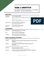 Brian J Griffith, Curriculum Vitae