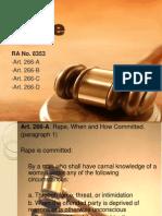 Criminal Law (Rape) Report