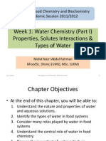 Week 1 H2O Properties, Solutes Interactions & Types of H2O