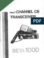 Cybernet Beta 1000 UK CB radio user instruction manual