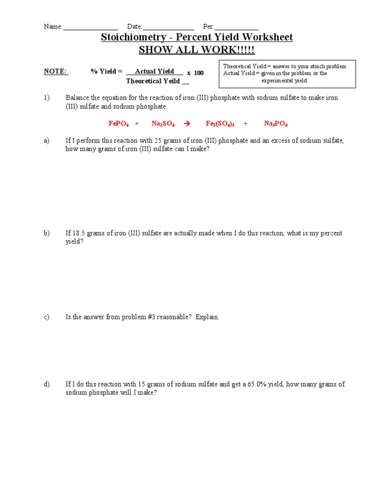 Percent Yield Worksheet – Percent Yield Worksheet Answers
