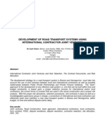 Development of Road Transport Systems Using International Contractor Joint Ventures