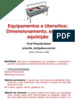 equipamentos e utensílios