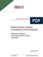 Ecole Ressources VocabEcoleMaternelle Lexique 153034