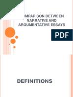 Comparison Between Narrative and Argumentative Essays