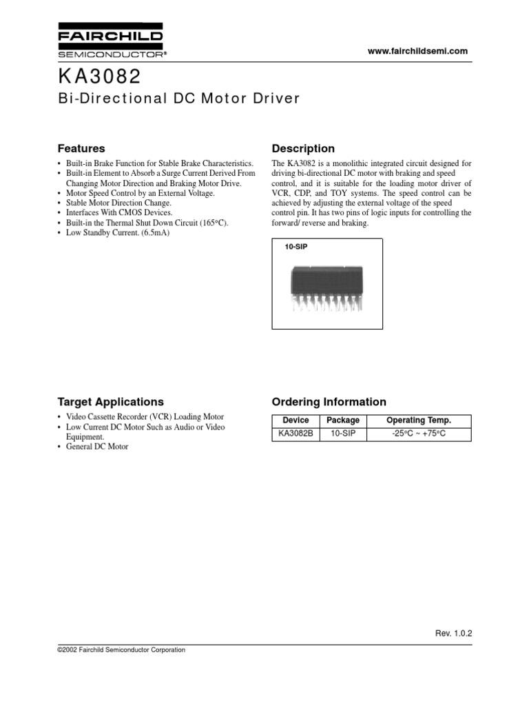 Ka3082 Controlador De Motores Cc Dc Motor Forward And Reverse Circuit