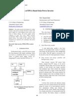 Design of FPGA Based Solar Power Inverter