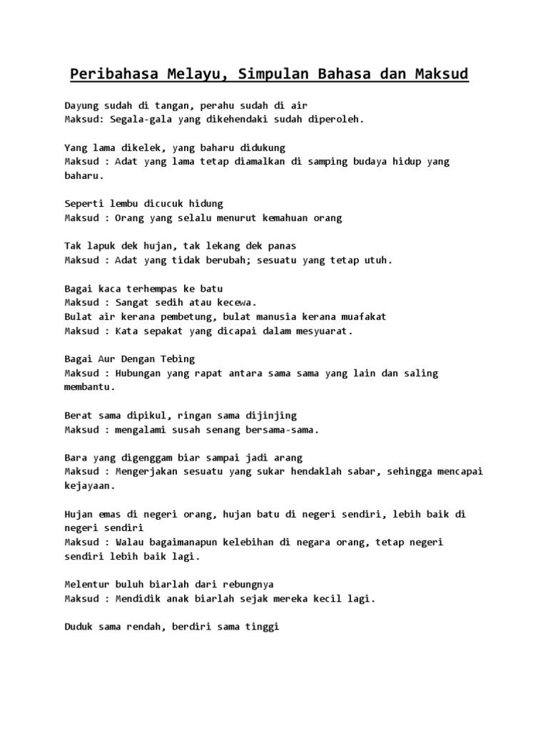 Peribahasa Melayu Simpulan Bahasa Dan Maksud