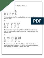Gaussian Elimination of a 4x5 Matrix A