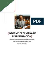 SEMANA DE REPRESENTACIÓN CONGRESAL DEL MES DE OCTUBRE