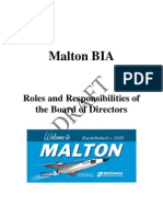 Roles and Responsibilities of the Board of Directors of the Malton BIA  - January 2013