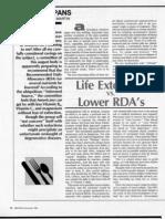 Life Extension vs Lower RDAs, by Nicolas Martin