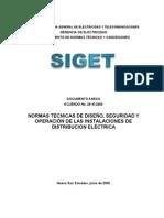 NORMAS TECNICAS DE DISEÑO, SEGURIDAD Y OPERACIÓN DE LAS INSTALACIONES DE DISTRIBUCION ELÉCTRICA