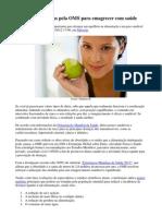 Quatro medidas indicadas pela OMS para emagrecer com saúde