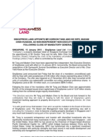 SXL_150113_SingXpress Land Appoints Mr Gordon Tang and His Wife, Madam Chen Huaidan, as Non-Independent Non-Executive Directors following Close Of Mandatory General Offer