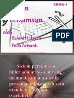 Rahmi Hidayati Dan Yulia Ariyanti (Sistem Persamaan )
