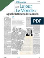 """Le jour où """"Le Monde"""" a publié la tribune de Faurisson"""