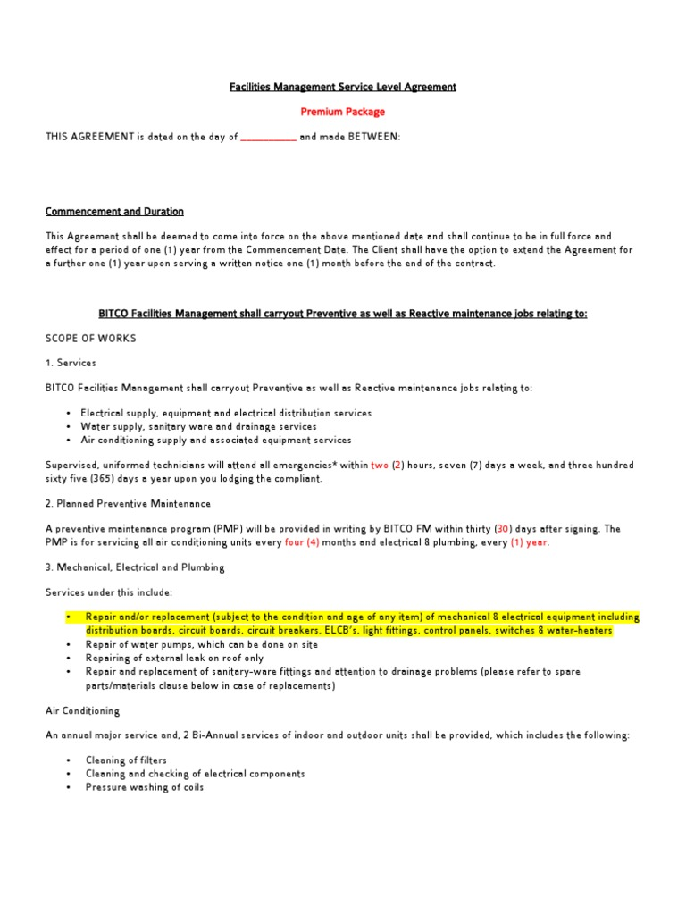 Sample Facility Management Contract