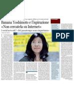 Banana Yoshimoto Racconta Il Suo Rapporto Difficile Con Il Mondo Del Web - Corriere Della Sera 15.01.2013