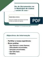 A Gestão de Documentos na Câmara Municipal de Lisboa