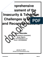 Comprehensive Assessment of the Insecurity & Terrorism Challenges in Nigeria and Recommendations