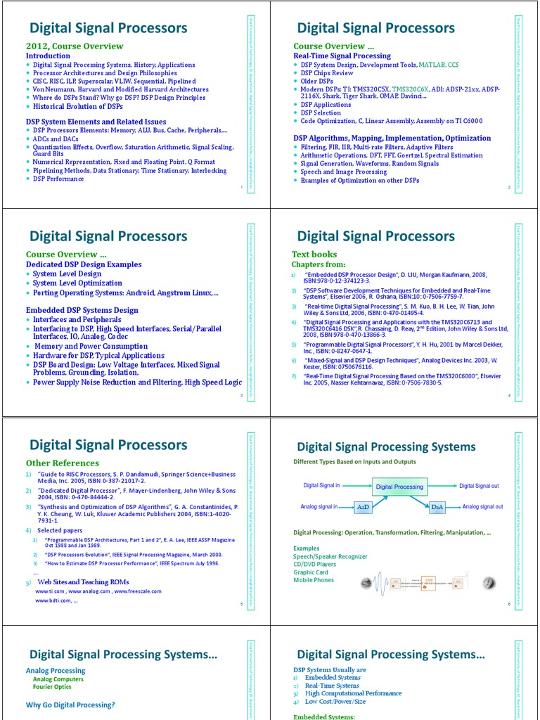 Dsp processors and architectures by avtar singh