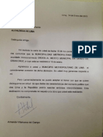 Carta de Armando Villanueva a municipalidad de Lima