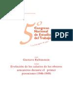 Evolución de salarios de obreros azucareros durante el primer peronismo