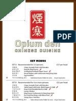 Opium Cafe Menu