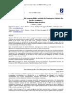 Développement durable, responsabilité sociétale de l'entreprise, théorie des parties prenantes : Évolution et perspectives
